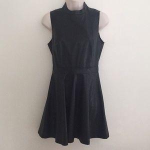 Black High Neck Faux Leather Skater Dress